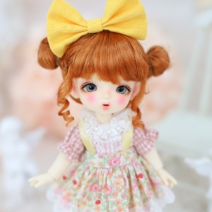 [Chibi/Pocket] Cutie Overall Skirt (Pink+Yellow)