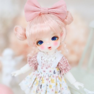 [Chibi/Pocket] Cutie Overall Skirt (Pink+White)